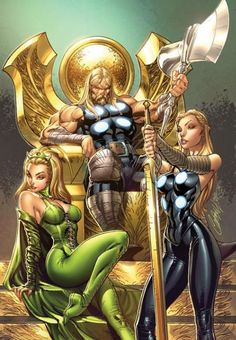 Thor and the Women of Asgard by J. Scott Campbell J Scott Campbell - American comic book artist J. Scott Campbell has risen to fame working for Wildstorm Comics and Marvel. In these particular drawings, he features s. Heros Comics, Marvel Comics Art, Marvel Comic Universe, Comics Universe, Marvel Heroes, Comics Girls, Marvel Girls, Captain Marvel, Captain America