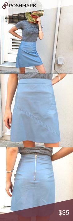 "Zara faux leather skirt! Zara faux leather skirt!  A line cut. Size medium, waist 13.5"", length 18"". Gorgeous shade of blue! Zara Skirts A-Line or Full"