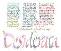 """Desiderata message original was written in gouache with the title in """"dropped in"""" colour to suggest a sense of peace and tranquility - by Dave Wood"""