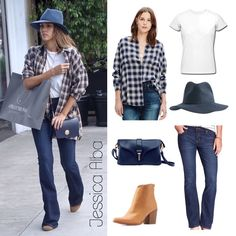 Jessica Alba Look for Less black hat, flannel, high waisted flare jeans,  boots,  white shirt