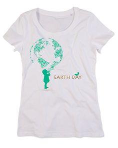 T-shirt Personalizzate Donna Girocollo Cotone Organico EARTH DAY