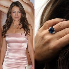 Liz Hurley and her gorgeous sapphire and diamond engagement ring.
