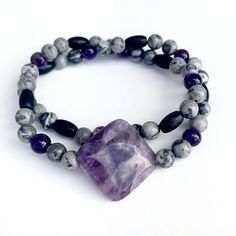 Amethyst, Picasso Jasper and Onyx Healing Crystal Double Wrap Bracelet Handmade by Soul Sisters Designs
