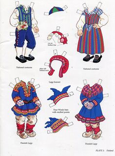 Kansallispukuja, paperinuket - book - libro - scandinavian girl and boy - paper doll - finland