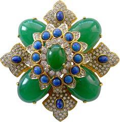 KJL (Kenneth Jay Lane) - Créateur de Bijoux - Vintage - Broche 'Croix de Malte' - Années 90