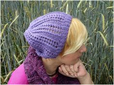 Lilac Knitted Beanie Lilac Knit Hat  Lavender by IrinasSTRICKMODE
