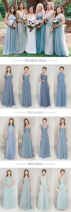 shades of blue mismatched bridesmaid dresses