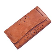 Hollow Out Women Wallets Black Cover Coin Purse Women'S Wallet PU Leather Brand Woman Purse Promotion Card Holder