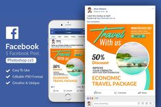 Tour & Traveling Facebook Post by Design Up on @creativemarket
