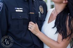 Engagement Photos Engaged to a police officer? A woman loves a man in uniform. Whitney Hunt Photography - Michelle is my cousin. Police Engagement Photos, Engagement Couple, Engagement Pictures, Engagement Session, Firefighter Engagement, Engagements, Wedding Photography Styles, Couple Photography, Engagement Photography