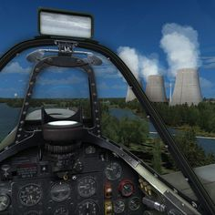 Spitfire passing Cooling Towers in Germany Plane: A2A Simulations Scenery: OBRX Northern Germany