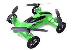 Hobby RC Helicopters - Syma X9 Flying Quadcopter Car Remote Control Car and Quadcopter Drone Exclusive Green Colorway ** Click image for more details.