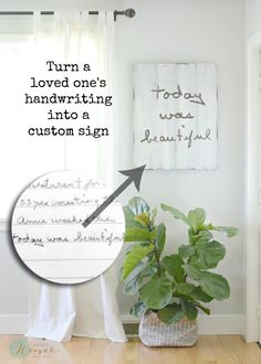 Turn a loved one's handwriting into a beautiful sign to cherish forever! Aimee Weaver Designs, LLC has personalized, custom, hand painted reclaimed barn wood signs and home decor ideas. Homemade Gifts, Diy Gifts, Xmas Gifts, Home Design, Interior Design, Craft Projects, Projects To Try, Wood Projects, Memory Crafts