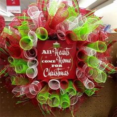 "New 2015. 20"", 'All Hearts Come Home for Christmas' Spiral Mesh Wreath in Red & White Striped, Red, White & Lime Green with Red & Lime Plaid Ribbon; $40 Made by Red-y Made Wreaths. Like & Follow us on Facebook https://www.facebook.com/pages/Red-y-Made-Wreaths/193750437415618 or Visit us at http://www.redymadewreaths.com/"
