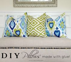 How to make a pillow with glue! A really easy no-sew pillow tutorial! - can you say SO MUCH MONEY SAVED???
