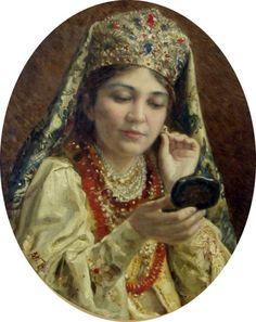 Young Woman Looking in a Mirror, Vladimir Egorovich Makovsky.