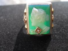 Beautiful Estate Green Cameo and Diamond Ring. $775.00, via Etsy.