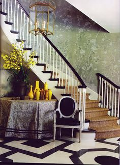 Love the flooring pattern! Entry Hall designed by Mary McDonald. Decor, House Design, Home, Painted Floors, Entry Stairs, Beautiful Interiors, Entry Hall, Interior Design, Stairs