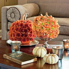 Fall Decor - To make these festive party decorations, pick up a carving or soft-skinned pumpkin, an awl (pointed tool), and some cut mums. Thanksgiving Decorations, Seasonal Decor, Table Decorations, Autumn Decorations, Thanksgiving Tree, Pumpkin Flower, Diy Living Room Decor, Living Rooms, Home Decor
