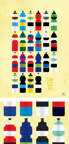 Image of Teams of the TDF 2014 - Bidons | veloposters.com
