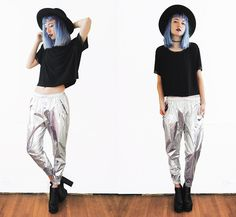 Get this look: http://lb.nu/look/7556932  More looks by Gigi M.: http://lb.nu/daeva101  Items in this look:  Ifchic Metallic Joggers   #edgy #gothic #grunge