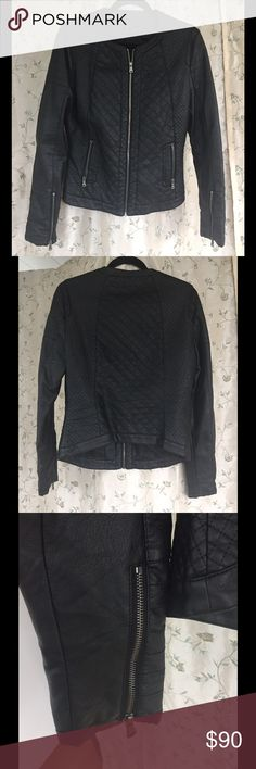 Harve Benard Faux Leather Jacket PRODUCT FEATURES Quilted design Faux-leather construction Ponte trim Zip front Long sleeves with zippered cuffs 2-pocket FABRIC & CARE Rayon, polyurethane Ponte: rayon, nylon, spandex Wipe clean Imported Harve Benard Jackets & Coats