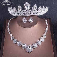 2018 Women Jewelry Set Wedding Crowns Necklace Earrings Bling Rhinestone Crystal Silver Headbands Hair Tiaras Bridal Flowers