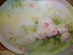 Tray with Hand Painted Pink Tea Roses