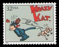 Krazy-Kat-George-Herriman-Ignatz-Mouse-Crazy-Cat-21-Yr-Old-Mint-US-Postage-Stamp