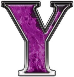 reflective letter y with inferno purple flames
