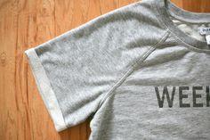 "DIY ""weekend"" sweatshirt makeover - easy fix for tight or short sweatshirt sleeves"