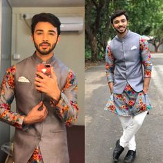 Menswear Monday's - This summer look fresh and cool in this kurta and Nehru jacket. Outfit by Ritu Deora for . Mens Indian Wear, Mens Ethnic Wear, Indian Groom Wear, Indian Men Fashion, Mens Fashion Suits, India Fashion Men, Men's Fashion, Wedding Kurta For Men, Wedding Dresses Men Indian