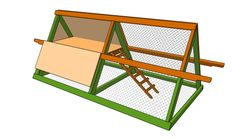 plans for a simple chicken coop - This should be possible to make with my novice skills. For 3 - 4 chickens (no rooster). Assuming the long handles are for moving coop when new scratching area is needed. Chickens will mostly be free range though. Need to come up with shade/ protection for harsh weather (tarp?) should be able to use pallet wood (for bits that need to be flatter) or branches from property (for poles and ladder).