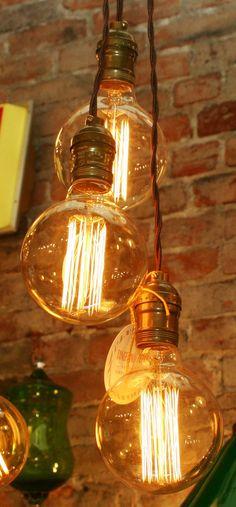 3 bulb Chandelier Hanging Light with vinage by TangerineZebra Apartment Lighting, Home Lighting, Lighting Ideas, Vintage Light Bulbs, Vintage Lighting, Vintage Art, Vintage Items, Hanging Lights, Home Interior Design