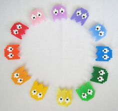 Rainbow PacMan Ghostbroaches perler beads by jatta78