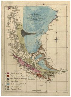First geological map of Patagonia drawn and colour-painted by Darwin, around 1840
