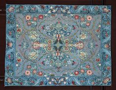 Object: Wall hanging Date: ca. 1880 (made) Artist/Maker: William Morris, born 1834 - died 1896 (designer) May Morris, born 1862 - died 1938 (maker) Materials and Techniques: Felted woollen cloth, embroidered with silks Textile Design, Textile Art, Fabric Design, Good Color Combinations, Acanthus, Victoria And Albert Museum, Rugs On Carpet, Carpets, Arts And Crafts Movement