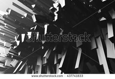 Geometric abstract background  An array of geometric shapes. 3d render illustration. Black and white