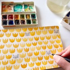 Painting tulips and cats this morning.  #illustratoriniceland #pattern #painting #cats #yellowtulips #watercolor #process #unipin #sketchbook #doodles