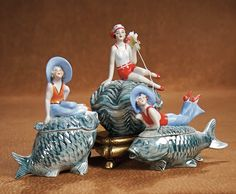 "Three German Porcelain Powder Jars ""Bathing Beauties on Sea Creatures."" http://Theriaults.com/"