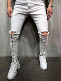 Check us Out! Free US Shipping on orders of $100 or more! Leggings Fashion, Fashion Pants, Mens Fashion, White Skinny Jeans, Skinny Fit, Casual Jeans, Men Casual, Streetwear Jeans, Blazers