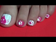How To: Paint My Toenails Pink & White Cat and Paw Prints. Easy  Tutorial.