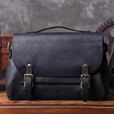 Handmade Top Grain Black Leather Messenger Bag Travel Bag Leather Briefcase MT601