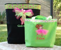 Girls personalized dance bag ballet bag wth applique dance shoes
