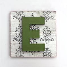 Painted Letter E on Reclaimed Wood Art Damask. $45.00, via Etsy.