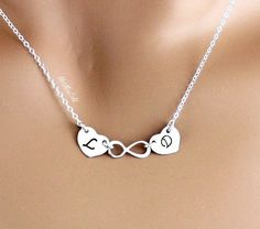 TWO+initial+and+infinity+Necklace+Monogram+two+Heart+by+hotmixcold,+$37.00