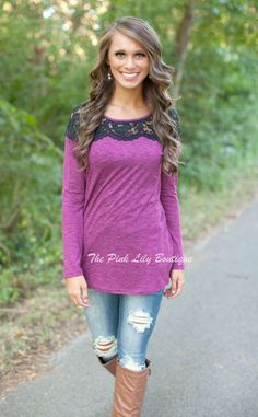 Available @ http://DollarTshirt.com The Pink Lily Boutique Magenta Lace Tunic $36.00 (thepinklilyboutiq)