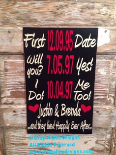 A personal favorite from my Etsy shop https://www.etsy.com/listing/182318642/dates-to-remember-custom-wood-sign-12x18