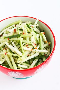 Asian Jicama and Cucumber Slaw…Awesome tucked inside of tacos! 40 calories and 1 Weight Watcher SmartPoint Slaw Recipes, Raw Food Recipes, Vegetable Recipes, Indian Food Recipes, Cooking Recipes, Healthy Recipes, Healthy Salads, Vegetable Dishes, Healthy Tips