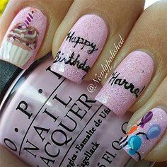 Nail art Christmas - the festive spirit on the nails. Over 70 creative ideas and tutorials - My Nails Birthday Nail Art, Birthday Nail Designs, Birthday Design, Birthday Crafts, Happy Birthday, Birthday Parties, Luxury Nails, Cool Nail Designs, Holiday Nails
